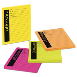 Post-it® Super Sticky Message Pads, 3-7/8 x 4-7/8, Lined, Neon, 4 50-Sheet Pads/Pack