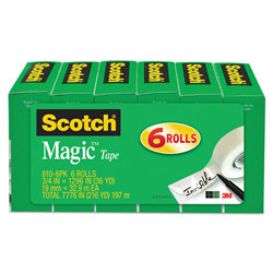 "Scotch Magic Tape, 3/4"" x 1296"", 1"" Core, Clear, 6/Pack"
