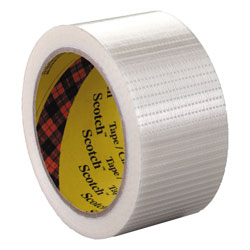 "Scotch Bi-Directional Filament Tape, 50mm x 50m, 3"" Core, Clear"