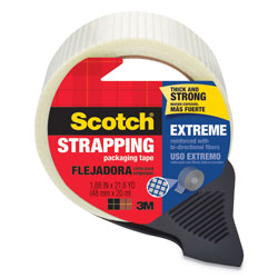 "Scotch Bi-Directional Filament Tape w/Dispenser, 1.88"" x 21.8yds, 3"" Core, Clear"
