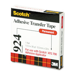 "Scotch Adhesive Transfer Tape, 1/2"" Wide x 36 Yards"