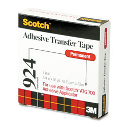 "Scotch Adhesive Transfer Tape Roll, 3/4"" Wide x 36yds"