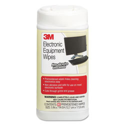 3M Electronic Equipment Cleaning Wipes, 5 1/2 x 6 3/4, White, 80/Canister