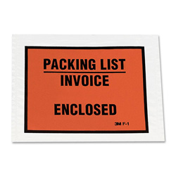 "3M Envelope, Full Print, ""Packing List/Invoice Enclosed"", Clear"
