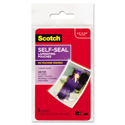 Scotch Self-Sealing Laminating Pouches, Glossy, 2 15/16 x 3 15/16, Wallet Size, 5/Pack