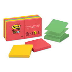 Post-it® Pop-Up Notes, 3 x 3, Electric Glow, 10 90-Sheet Pads/Pack