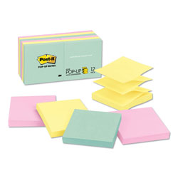 Post-it® 3 x 3 Pop Up Note Pad Refills, Pastel Colors, 12/Pack