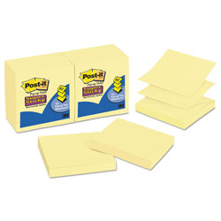 Post-it® Super Sticky Pop-Up Refill, 3 x 3, Canary Yellow, 12 90-Sheet Pads/Pack