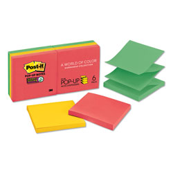 Post-it® Pop-Up Refill, 3 x 3, 4 Electric Glow Colors, 6 90-Sheet Pads/Pack