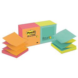 Post-it® Pop Up 3 x 3 Note Pad Refills, Alternating Neon Colors, 12/Pack