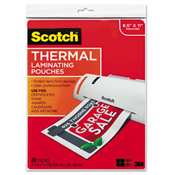 Scotch Letter size thermal laminating pouches, 3 mil, 11 1/2 x 9, 20/pack