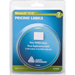 "Monarch Labels For Model 1115, 2 Line, 46/64""x39/64"", 3 Rolls, White"
