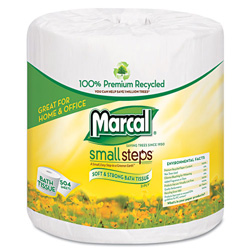 Marcal 100% Recycled Two-Ply Bath Tissue, White, 504 Sheets/Roll, 80 Rolls/Carton
