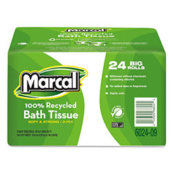 Marcal 100% Recycled Bundle Bathroom Tissue Roll, White, 168 Sheets, 24/Carton