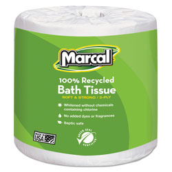 Marcal 100% Recycled Two-Ply Embossed Toilet Tissue, White, 48 Rolls/Carton