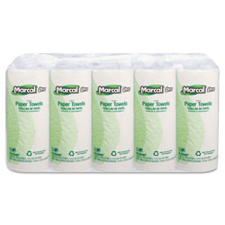 Marcal 100% Premium Recycled Perforated Towels, 11 x 9, White, 70/Roll, 15 Rolls/Carton