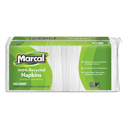 Marcal 100% Recycled Lunch Napkins, 1-Ply, 12 1/2 x 11 2/5, White, 400/Pack