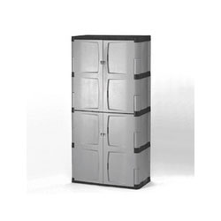 Rubbermaid Double-Door Storage Cabinet - Base/Top, 36w x 18d x 72h, Gray/Black