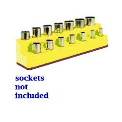 "Mechanics Time Saver 3/8"" Drive 14 Hole Neon Yellow Impact Socket Holder"