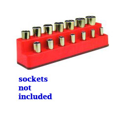 "Mechanics Time Saver 3/8"" Drive 14 Hole Rocket Red Impact Socket Holder"