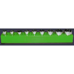 "Mechanics Time Saver 1/4"" Magnetic Neon Green 37 Piece Bit Holder"