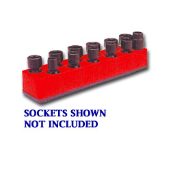 "Mechanics Time Saver 3/8"" Drive Universal Red 11 Hole Impact Socket Holder 9 19 mm"