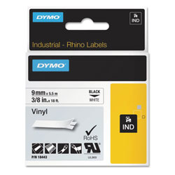 "Dymo Rhino Permanent Vinyl Industrial Label Tape, 3/8"" x 18 ft, White/Black Print"