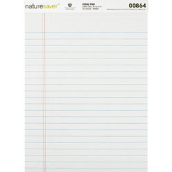 "Nature Saver Recycled Legal Rule Pad, Legal Rule, 8 1/2""x11 3/4"", White"