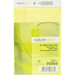 "Nature Saver Recycled Jr. Legal Rule Pad, Legal Rule, 5""x8"", Canary"