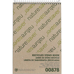 "Nature Saver Steno Notebook, Gregg Ruled, 60 sheets, 6""x9"", White"