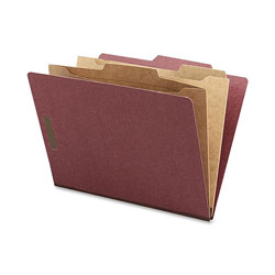 Nature Saver Classification Folder, Two-Pocket, 2/5 Cut, Letter, 10/Box, Red