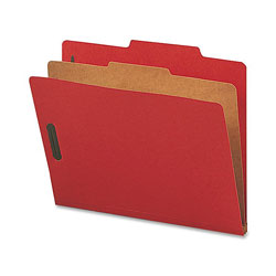 Nature Saver Classification Folders, w/ Fasteners, 1 Dvdr, Letter, 10/Box, Bright Red