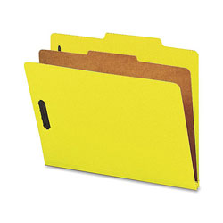 Nature Saver Classification Folders, w/ Fasteners, 1 Dvdr, Letter, 10/Box, Yellow