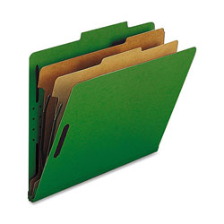 Nature Saver Classification Folders, w/ Fasteners, 2 Dividers, Letter, 10/Box, Green