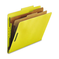 Nature Saver Classification Folders, w/ Fasteners, 2 Dividers, Letter, 10/Box, Yellow