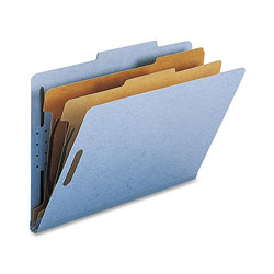 Nature Saver Classification Folders, w/ Fasteners, 2 Dividers, Legal, 10/Box, Beige