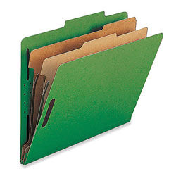 Nature Saver Classification Folders, w/ Fasteners, 2 Dividers, Legal, 10/Box, Green