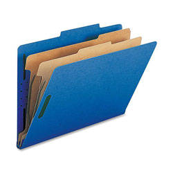 Nature Saver Classification Folders, w/ Fasteners, 2 Dividers, Legal, 10/Box, Dark Blue