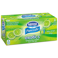 Nestle Pure Life Exotics Sparkling Water, Key Lime, 12 oz Can, 8/Pack, 3 Pack/Carton