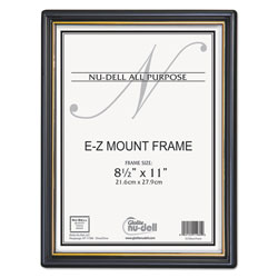 Nudell Plastics EZ Mount Document Frame, 8 1/2 x 11, Black
