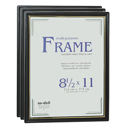 "Nudell Plastics Document Frame, Easy Slide In Feature, 8 1/2""x11"", Black"