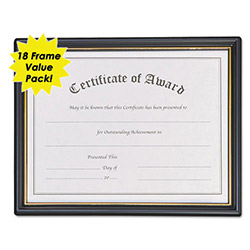 Nudell Plastics Framed Achievement/Appreciation Awards, 11w x 8h, Two Designs, 9 Each, 18/Pack