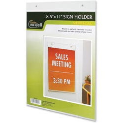 Nudell Plastics Acrylic Sign/Photo/Certificate Holder, Vertical Wall, 8 1/2w x 11h
