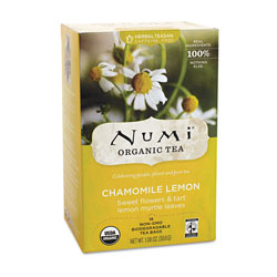Numi Organic Tea Herbal Tea, Organic, 18 Bags/Box, Chamomile Lemon