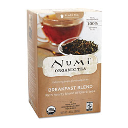 Numi Organic Tea Black Tea, Organic, 18 Bags/Box, Breakfast Blend