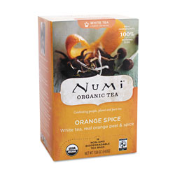 Numi Organic Tea White Tea, Organic, 16 Bags/Box, Orange Spice
