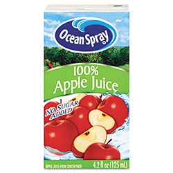 Ocean Spray Aseptic Juice Boxes, 100% Apple, 4.2 oz, 40 per Carton