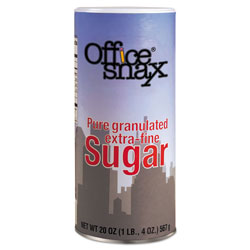 Office Snax Reclosable Canister of Sugar, 20-oz, 24 per Carton