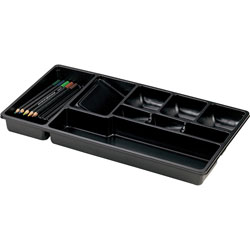 "Officemate Drawer Tray, 9 Compartments, 16""x9""x1 1/2"", Black"