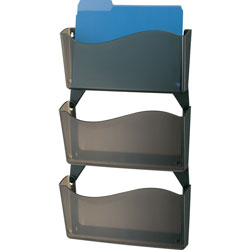 Officemate Wall Files, w/ Hangers, Unbreakable, 3/BX, Smoke